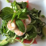 Cucumber Noodles with Chili Watermelon and Shrimp