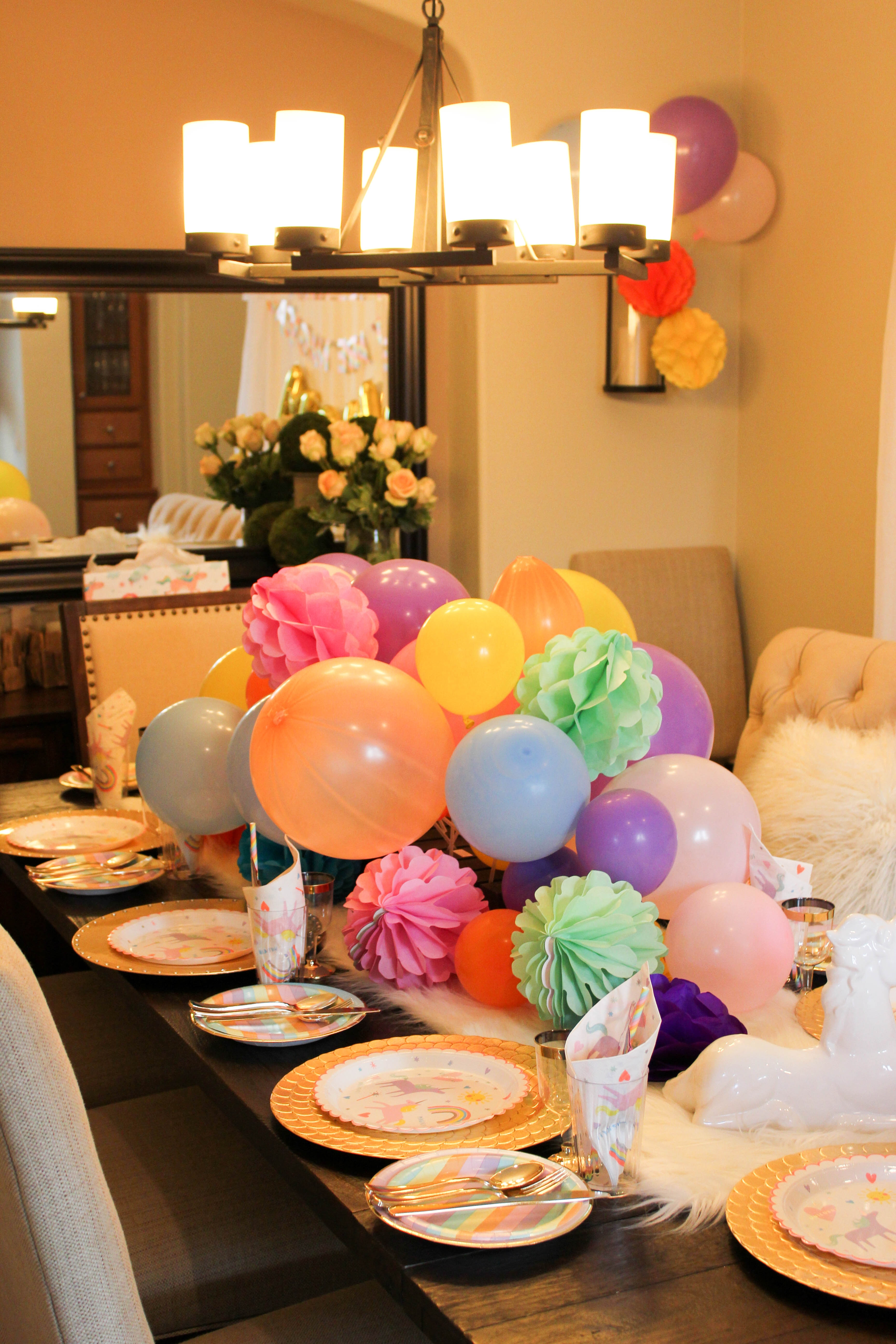 Unicorn brunch and balloon centerpiece diy treehouse threads