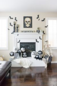 Black and White Halloween Mantle Decor